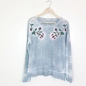 Lucky Brand Embroidered Long Sleeve Burnout Top